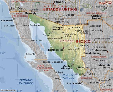 mapa de sonora mexico rios de sonora mapa