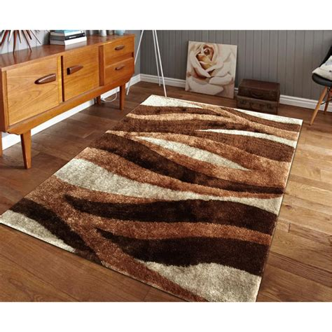Navy Trellis Rug Hand Tufted Brown Shag Area Rug 5 X 7 Ebay