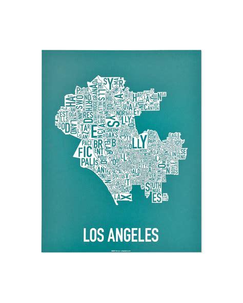 map of los angeles poster los angeles neighborhood type map posters prints