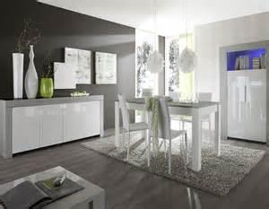 salle 224 manger moderne compl 232 te gris et blanc laqu 233 pietra 2