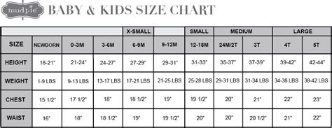 baby size chart size chart baby mud pie