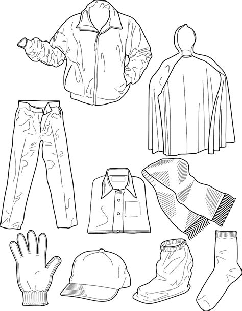 winter clothing colouring pages printables templets and