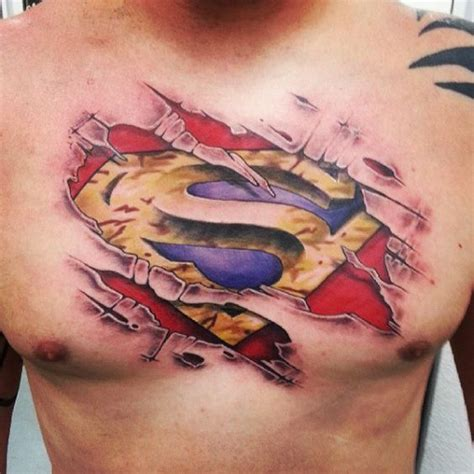 superman chest tattoo 30 trendy skin tear amazing ideas