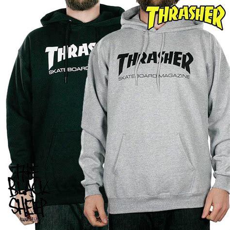 Hoodie Jumper Jaket Skate Thrasher Black Thrasher Magazine Skate Mag Logo Skateboard Hoodie Grey