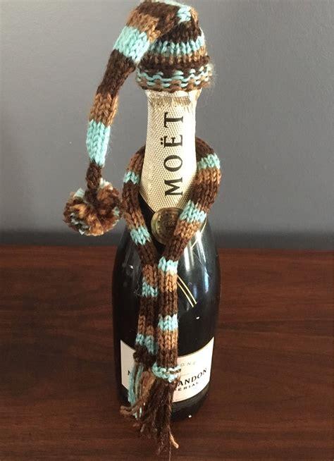 wine bottle hat  scarf set wine bottle topper knitted