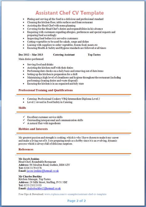 Resume Samples No Experience by Assistant Chef Cv Template Page 2