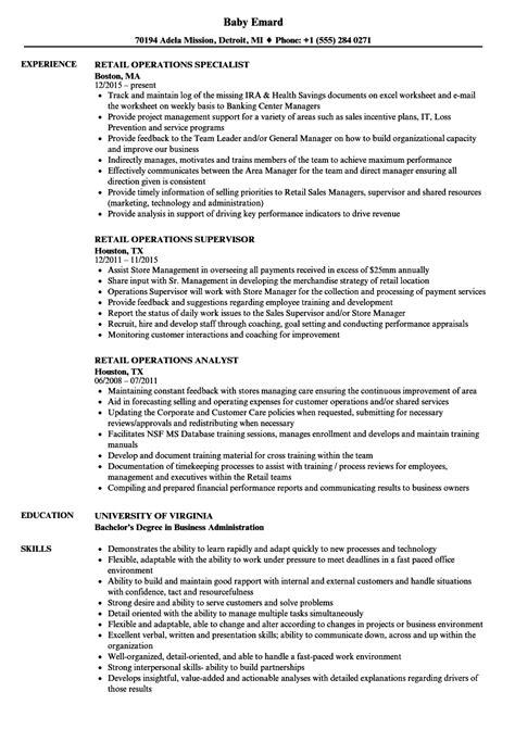 Resume Operations Manager Retail retail operations resume sles velvet