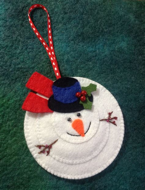 felt snowman christmas hanging ornament felt pinterest