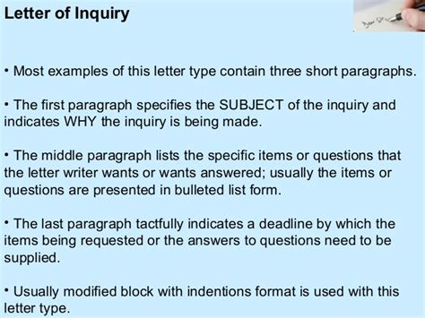 Inquiry Letter With Questions Ppt On Business Letters And Its Types