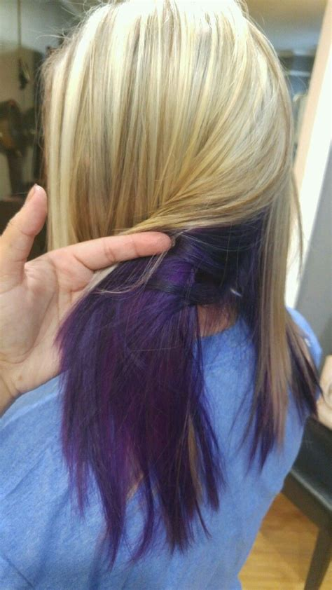 color underneath hair with lowlights and purple underneath