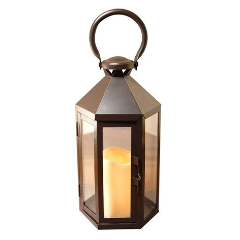 lumabase 6 in x 12 in hexagon metal lantern with led