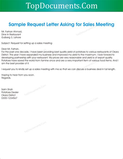 Inquiry Letter Restaurant request letter for sales meeting appointment top docx