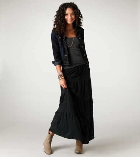 jean jacket maxi skirt and ankle boots style