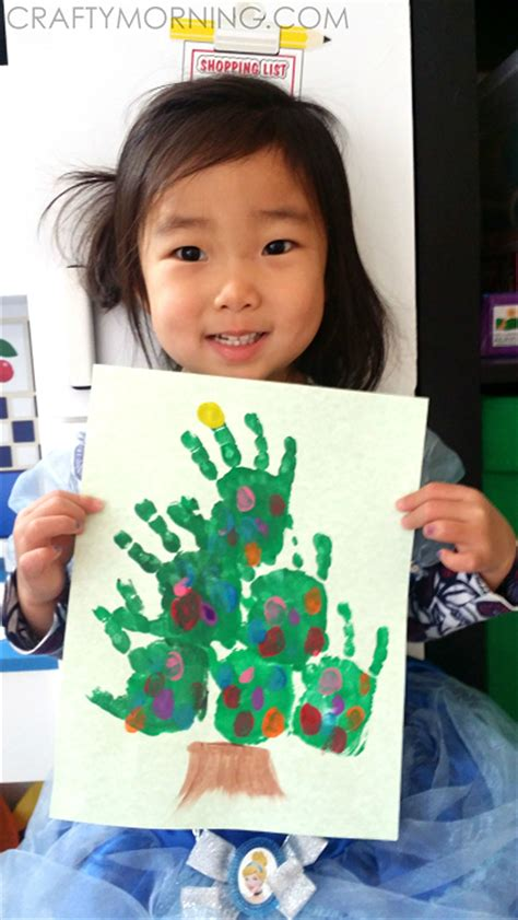 hands on crafts for christmas in the morning easy handprint tree craft crafty morning