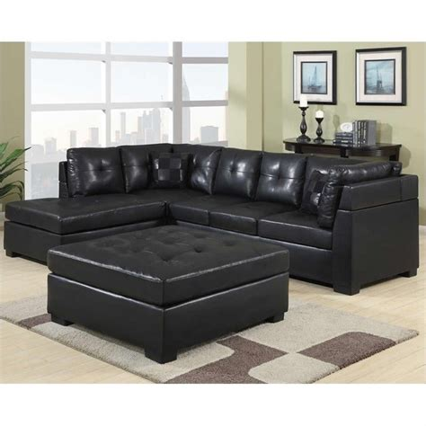 Black Sectional Sofa With Chaise Coaster Darie Leather Sectional Sofa With Left Side Chaise In Black 500606