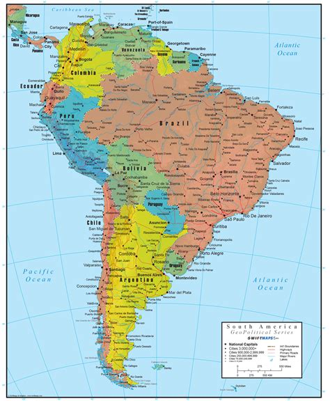 usa and south america map south america wall map geopolitical deluxe edition