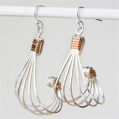 earrings with wire silver square wire and copper half wire earrings