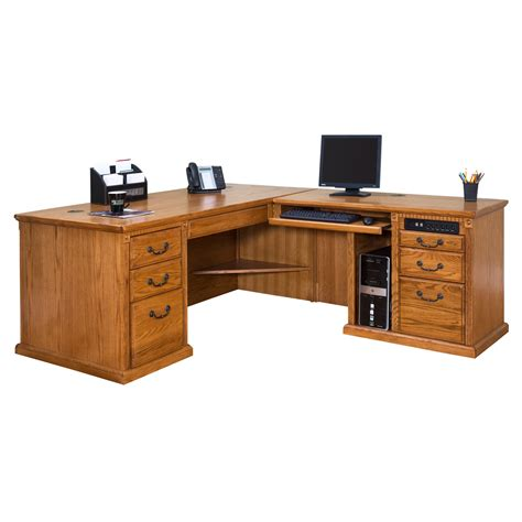 Varnished Oak Wood Corner Computer Desk Which Furnished Wooden Corner Desk
