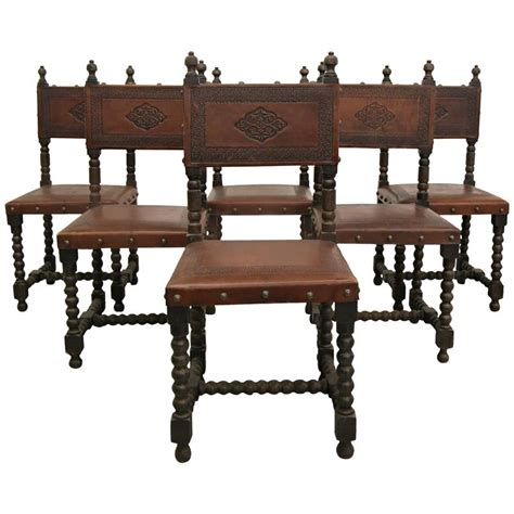 Colonial Dining Chairs Set Of Six Antique Colonial Sted Leather Dining Chairs At 1stdibs