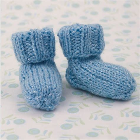 knitting pattern infant socks shimmery simple knit baby booties allfreeknitting com