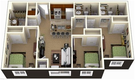 3 Bedrooms House Plans Designs
