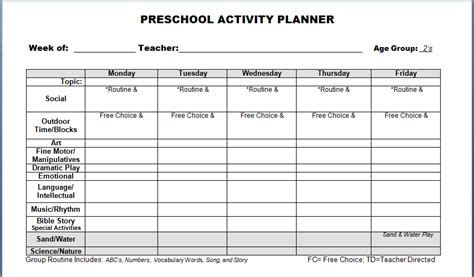 weekly lesson plan template for preschool 4 preschool weekly lesson plan templatereport template