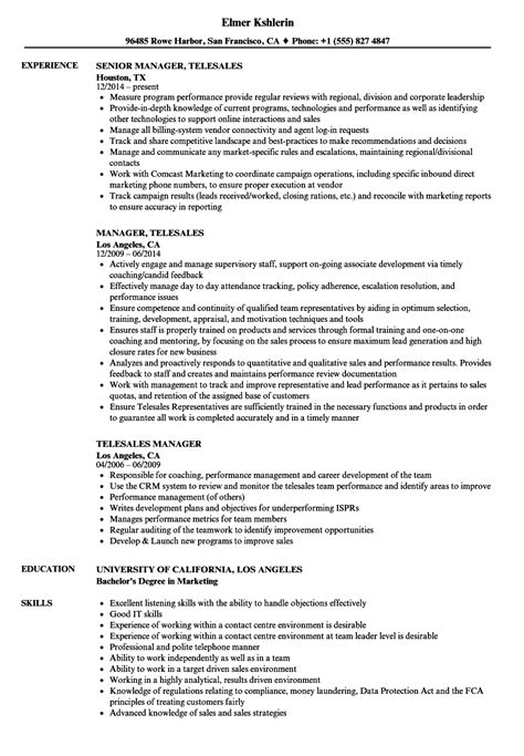 telesales manager resume sles velvet