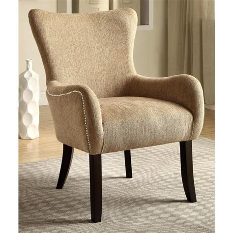 shop casual beige living room accent chair  nailhead trim  shipping today overstock