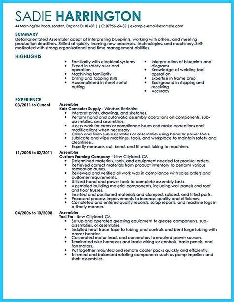 Assembly Line Operator Resume Sle by Production Description For Resume Production