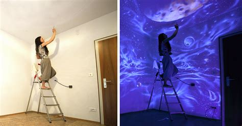 galaxy bedroom walls when the lights go out my glowing murals turn these rooms