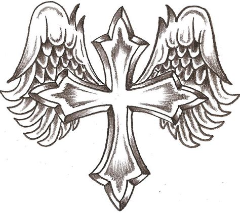 simple angel tattoo designs cool crosses to draw cliparts co