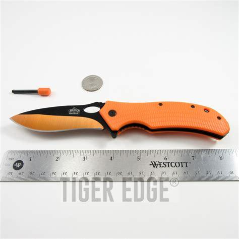 starter pocket knife assist folding pocket knife black orange blade survival starter edc ebay