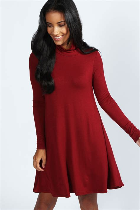 Boohoo Womens Ladies Faye Roll Neck Long Sleeve Swing Dress