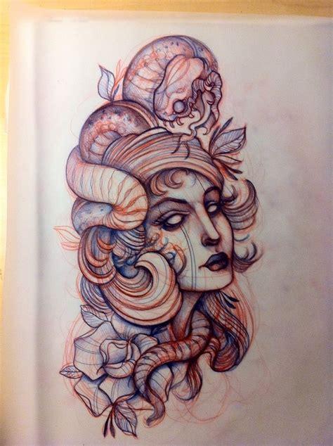 new school medusa tattoo elegant new school style medusa gorgona portrait tattoo