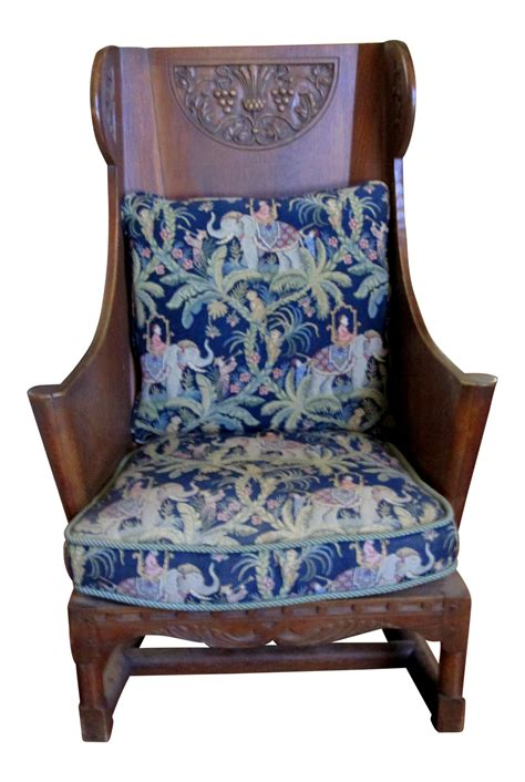antique wooden wingback chair antique ornate carved wooden wingback chair w monkey