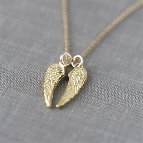 gold angel wings necklace inspirational jewelry gift for