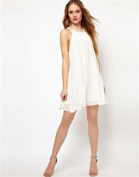 swing dress with collar jarlo embellished collar swing dress in white cream lyst
