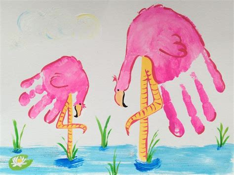 flamingo craft projects flamingo handprint craft for by madelyn handprint