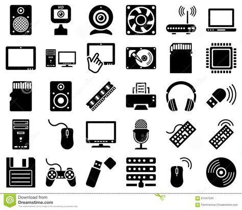 Computer Hardware Icon Set Stock Vector Illustration Of