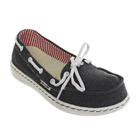womens dude moka navy canvas slip on deck boat