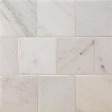 Carrara Marble Floor Tile Splashback Tile Brushed White Carrara 4 In X 4 In Marble Floor And Wall Tile 9 Pieces