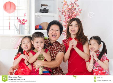 new year traditions in family happy asian family reunion at home royalty free stock