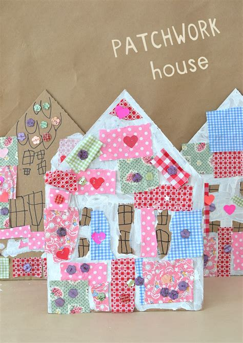 fabric crafts for children patchwork houses with cardboard and collage bar