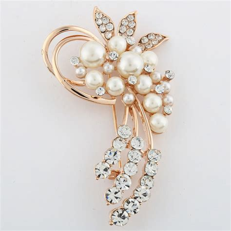 Pearl Flower Bounch Earings fashion jewelry high quality vintage brooch pins gold plated austria crystals imitation pearl