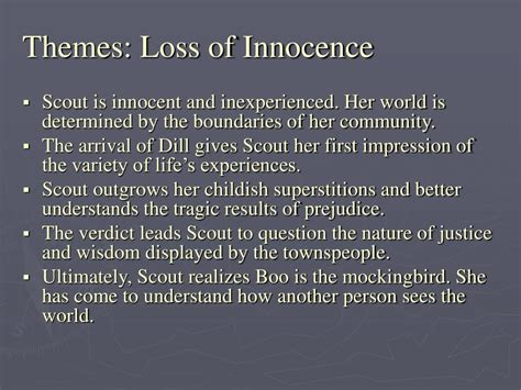 loss of innocence theme in catcher in the rye ppt to kill a mockingbird powerpoint presentation id