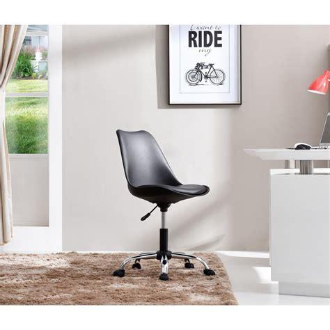 Hodedah Black Armless Swivel Office Desk Chair With Swivel Desk Chair Cushion
