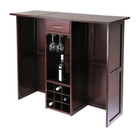 Folding Home Bar Cabinet Folding Wine Bar Wood Walnut Winsome Target