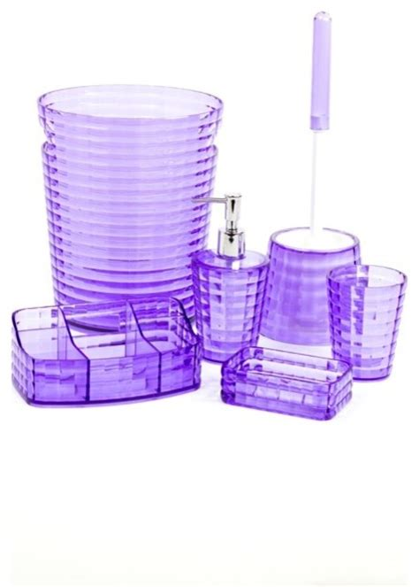Lilac Bathroom Accessories Lilac 6 Bathroom Accessory Set Gl6081 79 Contemporary Bathroom Accessory Sets By