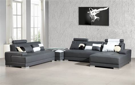 sectional couch with ottoman phantom contemporary grey leather sectional sofa w ottoman