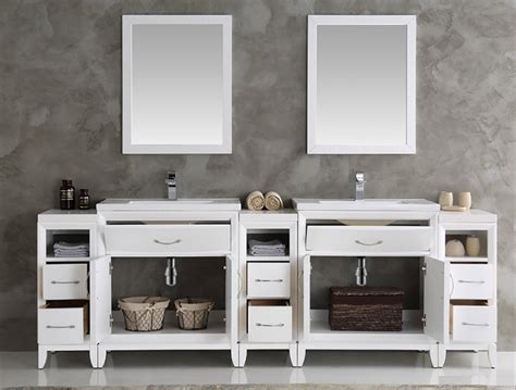 96 inch white finish double sink traditional bathroom